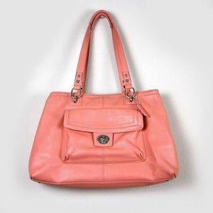 Authentic, beautiful Coach large coral carryall.