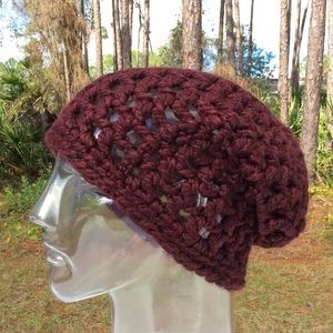 Accessories - Handmade claret colored versatile slouchy hat