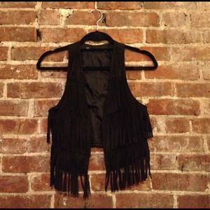 Tops - SOLD: Black Faux-suede Fringe Vest