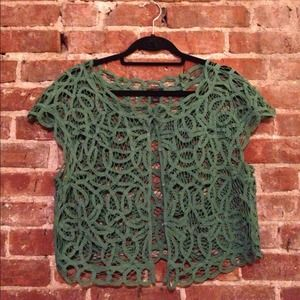J. Crew Tops - REDUCED: Green Lace Bolero