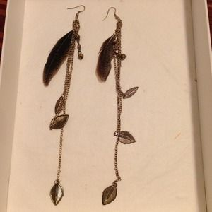 Jewelry - Very long copper colored feather earrings