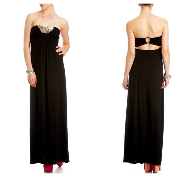 0c80e6deb00 2b BEBE Strapless Black Maxi Dress (Price is Firm)