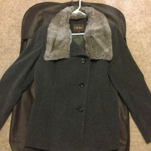 Cole Haan Wool Coat with Rabbit Fur