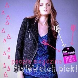Jackets & Blazers - Black Tweed Moto Jacket Blazer
