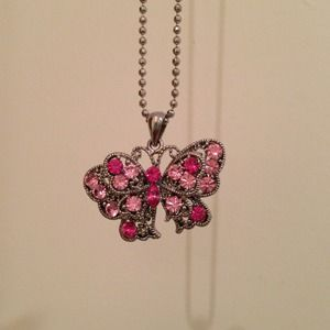 Pink sparkly Butterfly necklace
