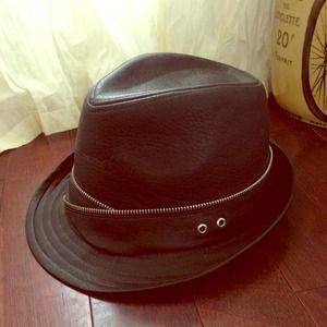 Black Leather Fedora w/ Zipper Detail