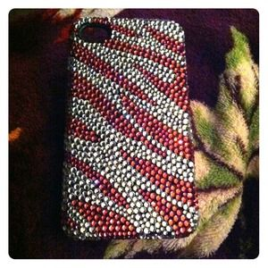 Accessories - Pink and white bling zebra print iPhone 4/4s case