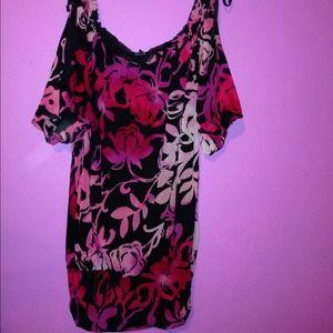 EXPRESS open shoulder mesh floral top