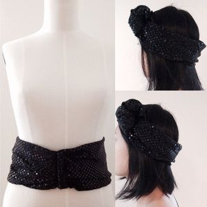  VINTAGE  Black Sequin Belt / Head Wrap