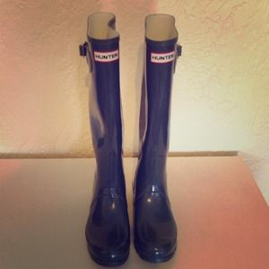 Hunter Boots - Hunter Original Gloss Rain Boots in Grey Size 8