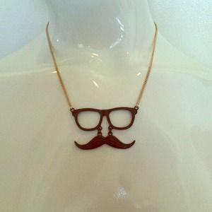 Mustache w glasses necklace!