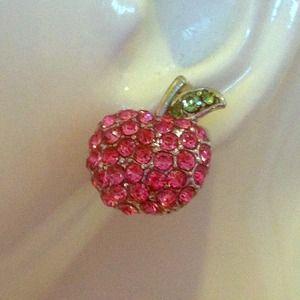 Rhinestone apple earrings!