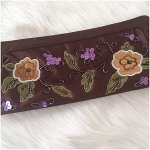 Handbags - Brown Flowered Sequin Clutch