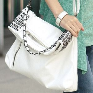Handbags - White Studded Leather Bag
