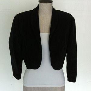 Contempo Black Suede Bolero Jacket & Biker Shorts