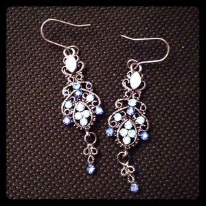 Stunning blue rhinestone chandelier earrings