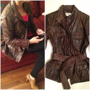 ZARA Vintage washed chocolate leather jacket!!