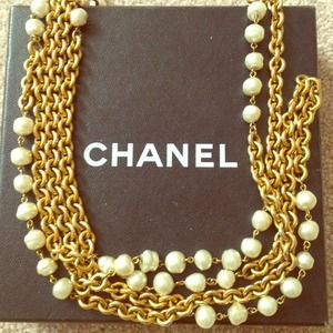 Chanel Baroque Pears on a Long Gild link necklace
