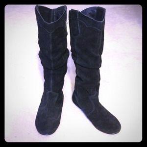 Steve Madden Boots - STEVE MADDEN 'TAMPERR' BLACK SUEDE FLAT BOOTS