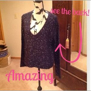 Unique Sweater/ dark Blue w/ Sequins & Sheer Back