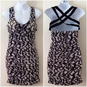 Black & White Dress w/ Criss Cross Back