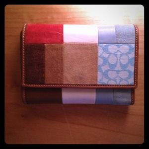 Coach patchwork trifold wallet