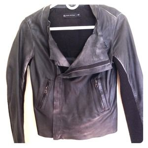 Zara leather motorcycle style jacket