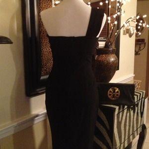 Aqua Dresses - Aqua- one shoulder black Dress poly/ spandex
