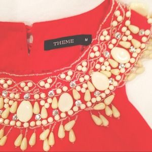 Theme Dresses & Skirts - REDUCED Coral Theme Dress with Beaded Collar