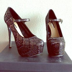 H by Halston lace glitter heels