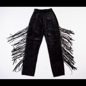Vintage Suede Fringe Pants