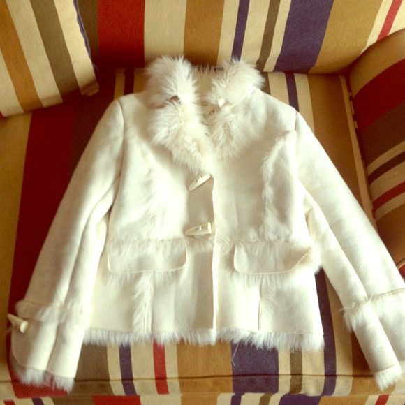 Girls 10/12 white suede and faux fur lined coat M from Alexandra's ...
