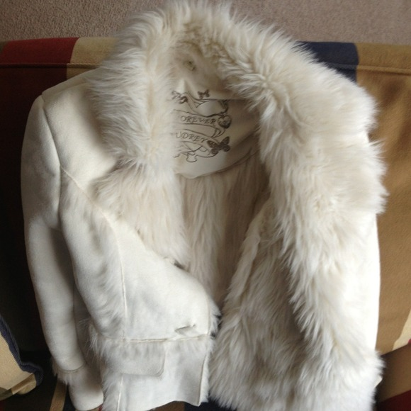 Girls 10/12 white suede and faux fur lined coat M from Alexandra's