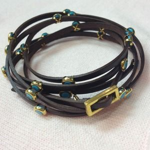 Brown Leather Wrap Bracelet w/Gold&Turquoise Studs