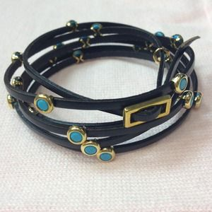 Black Leather Wrap Bracelet wGold&Turquoise Studs