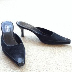 Nordstrom Black Suede Slip On Heels