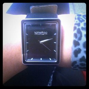 REDUCEDNixon black leather strap watch