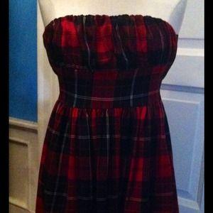 Tartan Plaid red & black sweetheart dress