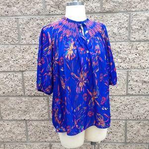 Vintage Blue Floral Blouse