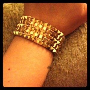 Gold spiked cuff bracelet