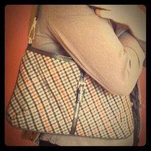 Handbags - Tweed plaid bag purse with leather trim