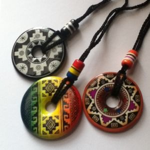Jewelry - Set of 3 Aztec Design Ceramic Pendant Necklace New