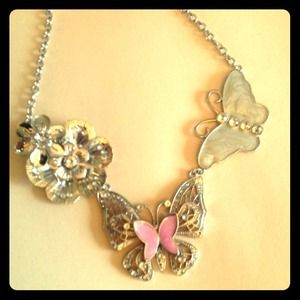 Jewelry - **Reserved***Silver butterfly statement necklace