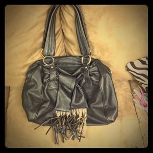 Handbags - Faux Black Leather Bag with Fringe and Chains