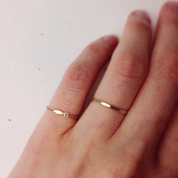 Jewelry - dainty yellow gold filled bar chain ring 4