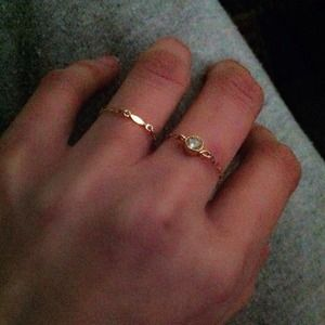 Jewelry - dainty yellow gold filled bar chain ring 3