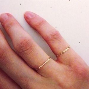 Jewelry - dainty yellow gold filled bar chain ring