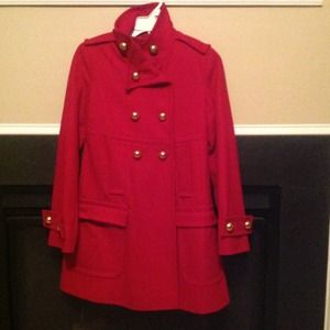 Jackets & Blazers - 🎉REDUCED🎉XS Red Wool Military Style Pea Coat