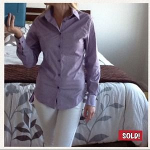 Express Tops - Ladies Long Sleeve Purple Button-Up Top