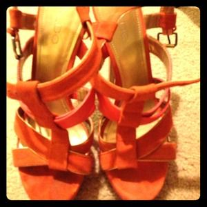 Gold rimmed orange suede strappy heels